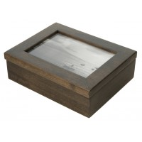 5x7 Keepsake Box w/ Ebony Stain Glass Pane - Keepsake Shadow Box - Deep Shadow Box - Custom Framing Designs, USA