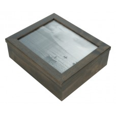 8x10 Keepsake Box w/ Ebony Stain Glass Pane - Keepsake Shadow Box - Deep Shadow Box - Custom Framing Designs, USA